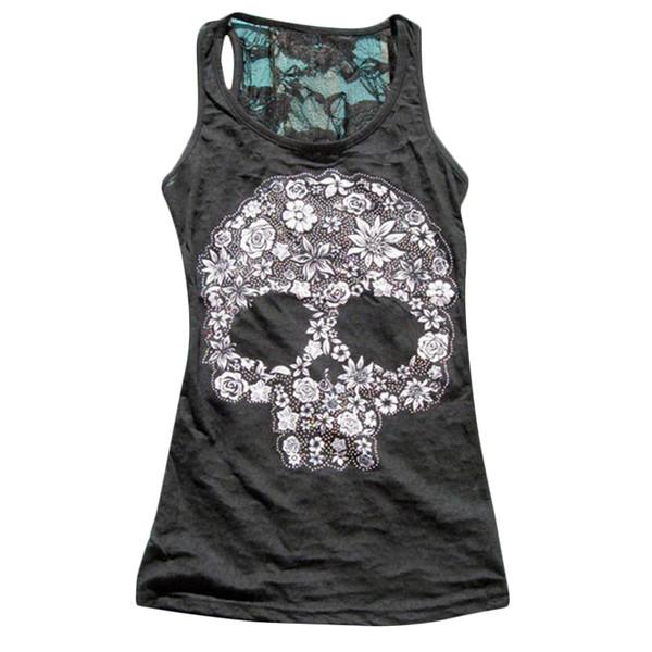2018 Women Tank Tops Summer Vest Punk Rock Skull Print Tank Casual Sleeveless T-shirt Women Clothing Lj8813m Y190509