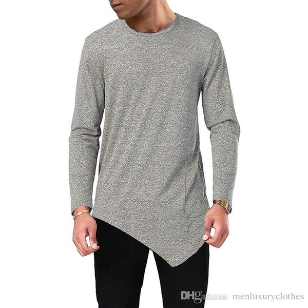Mens Designer Unregelmäßige T-shirt Herbst Frühling Mode Oansatz T-stücke Langarm Basic Tops