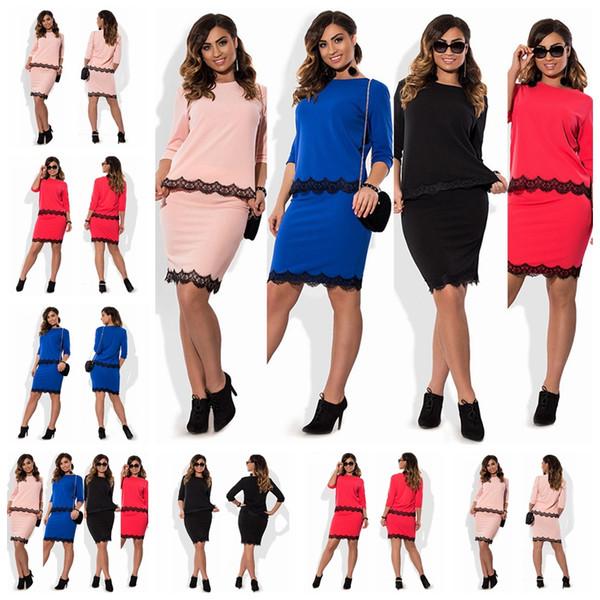 Mode nouvelle section éclate en dentelle couture col rond manches robe jupe deux costume, soutien mixte lot