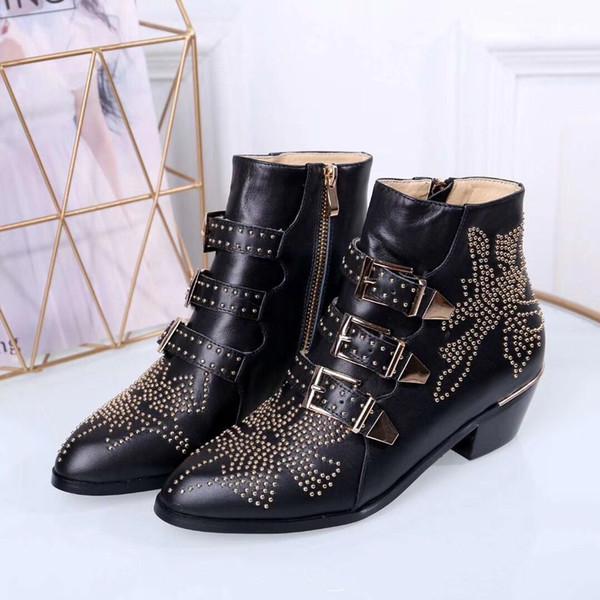 2019 yeni lüks lüks markalar, yüksek kalite bayanlar rahat botlar, düz dipli orta tüp, ayak bileği düz dipli Martin çizmeler boyutu 35 ~ 42