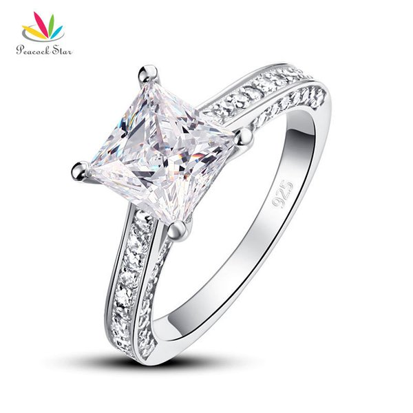 Peacock Star 925 Sterling Silver Wedding Anniversary Engagement Ring 1.5 Ct Princess Cut Jewelry Cfr8009 J190716