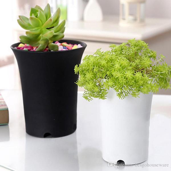 top popular Plastic Round Succulents Pots Flowers Cultivate Bottom Breathable Flower Pot Flower Planter Home Succulents Breed Garden Pots BH2362 TQQ 2021
