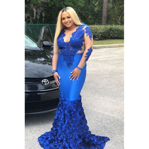 Plus Size Mermaid Prom Dresses Royal Blue Long Sleeve Sweep Strain Flowers Lace Applique Beading Formal Evening Dress Party Gown