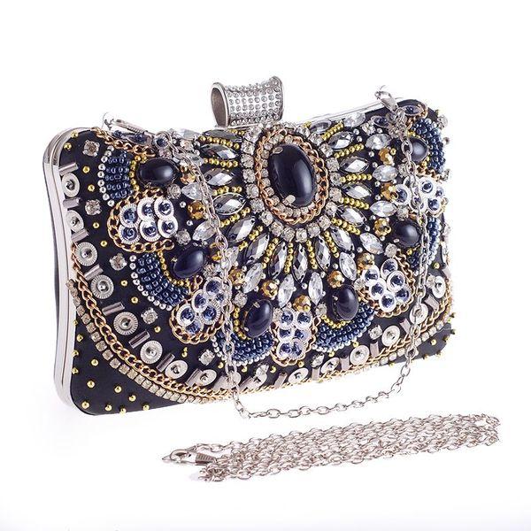 Cuentas de lujo diamantes noche embragues mujer YH093 vintage damas hechas a mano del partido nupcial embrague noche bolsos de noche