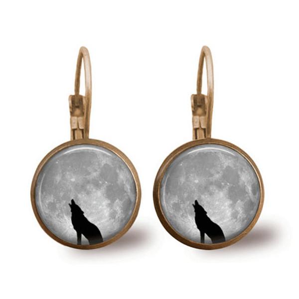 Cross-border hot sale wolf jewelry Wolf pattern time gemstone earrings French ear hook earrings small gift custom wholesale