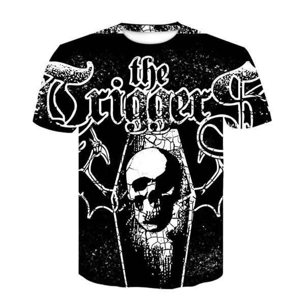 Hip Hop Noir Squelette Tamponnant T-shirt Pour Hommes Punk Chemises Noires Pour Hommes Funny Skull T Shirts Ypf282