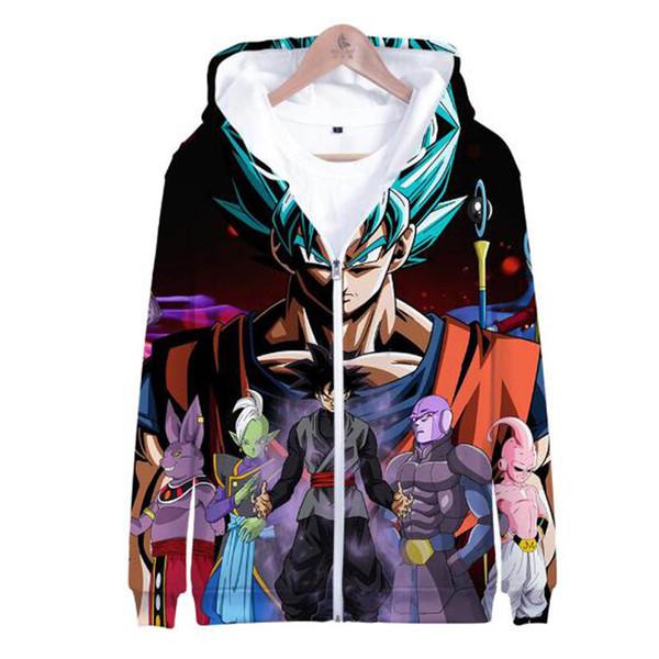 Новое аниме Z Супер Cute Гоку Dragon Ball 3D печати с капюшоном Мужские костюмы / Женщины молнией Толстовки Толстовки Куртка Harajuku 2019 Одежда