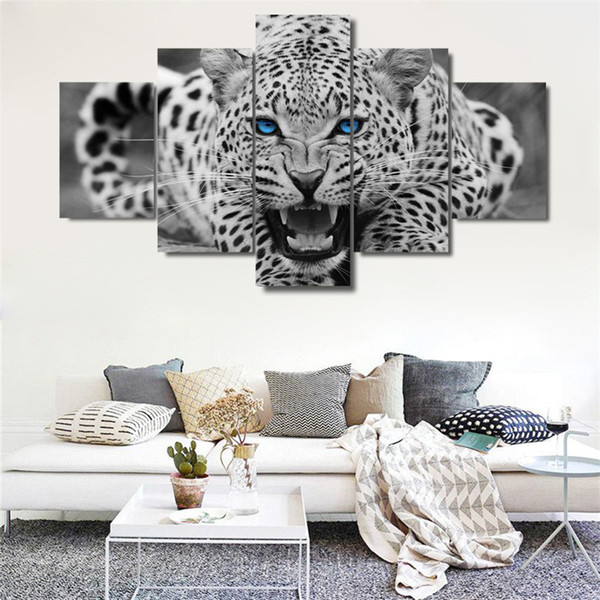 5 Pieces Canvas Poster And Prints Wall Art Canvas Painting animal leopard Wall Pictures Living Room color Decoration painting S-68