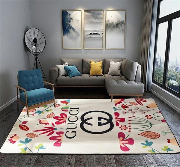 Renkli Bitki Baskı Halı Polyester Halı Ev Mobilya Yatak Odası Ön Kapı Mat Lüks Yüksek dereceli G Harf Baskı Halı