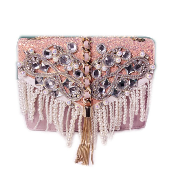Fashion luxury bling diamonds messenger clutch bags woman YH081 pink chain tassels dinner handbag female pearls evening bag