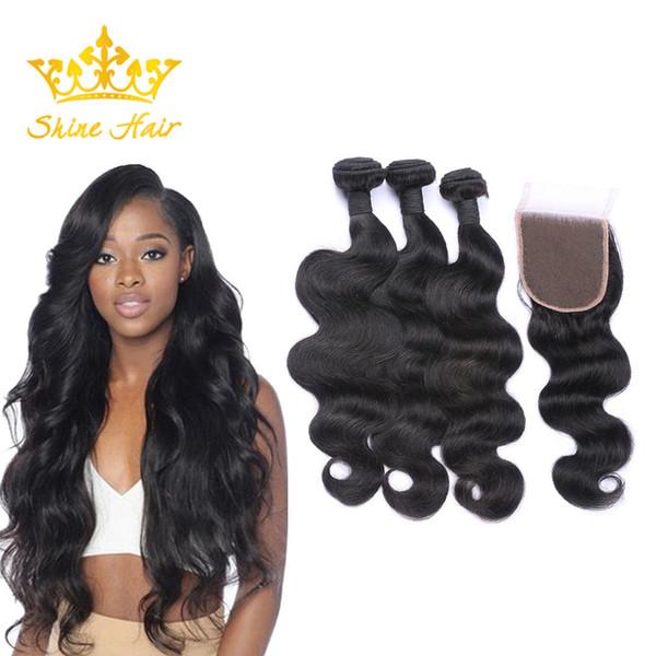 Shine Hair Brazilian Blonde Body Wave Human Virgin Hair Ombre 613 3 Bundles With 13*4 Lace Closure Natural Black Hair Bundle Weft