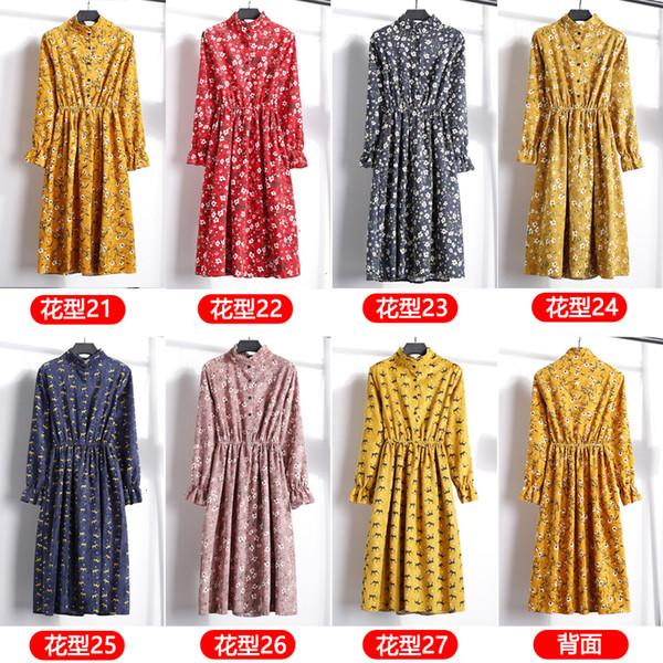 women dress woman clothes corduroy high elastic waist dress 2019 fleece women sleeve floral print dresses 23 colors designer clothes