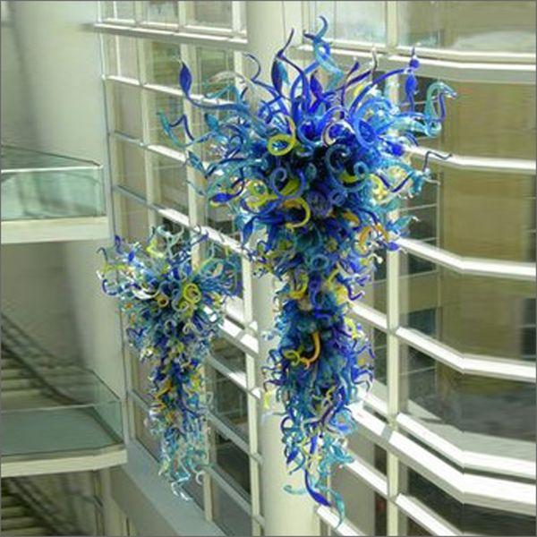 El más nuevo Contemporáneo Multi color soplado a mano Murano Glass Chandelier Light Art Ahorro de energía Blown Glass Long Crystal Chandelier