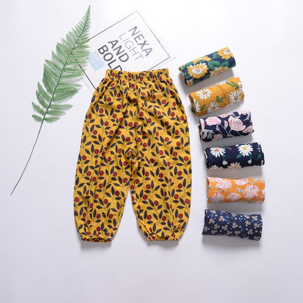 Baby Girl Harem Pants Sunflower Printed Loose Mosquito Casual Pants Kids Beach Trousers Baby Kids Designer Clothes Pants 12M-6T 7 Color