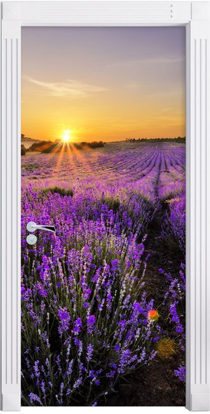 Free Shipping DIY Door Sticker Sunset Lavender Field Door Decals Decorations For Bedroom Living Room Wallpapers Decal Home Accessories