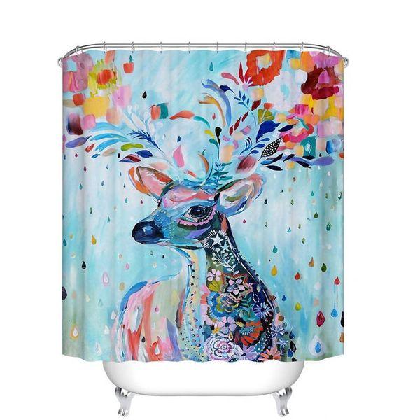 Bathroom Decor Sika deer oil painting Art Pattern Curtains Wall Decorative Screen - Waterproof, Soap, and Mildew resistant