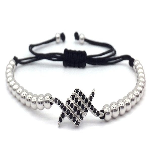 2019 New Arrival Claw Charm bracelets bangles steel Pave Black CZ Beads Braided Macrame Jewelry Gift For women or Men