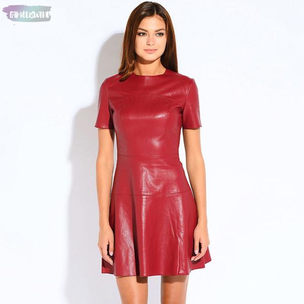Heißen Verkauf Art und Weise Leder-Linie O-Ansatz Schwarzen Kleid Chiffon beiläufigen Frauen-Kleid-Kurzschluss-Hülsen-reizvoller Herbst Vestidos Pu-Kleid 2153A