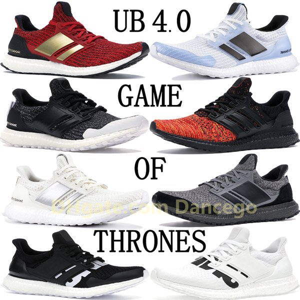 top popular TOP Ultraboost UB 4.0 x Game of Thrones men women running shoes triple White Black multi-color womens mens designer sneakers UNDFTD trainers 2019