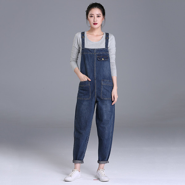 2019 Women\'S Plus Size Denim Bib Overalls Boyfriend Cropped Denim Jeans  High Waist Jumpsuits & Playsuits Washed Romper Casual Pants From  Zhaolinshe, ...