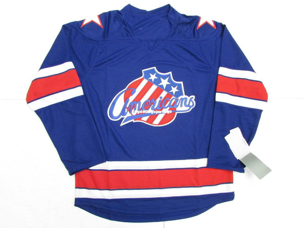 Cheap custom ROCHESTER AMERICANS BLUE AHL PREMIER HOCKEY JERSEY stitch add any number any name Mens Hockey Jersey XS-6XL