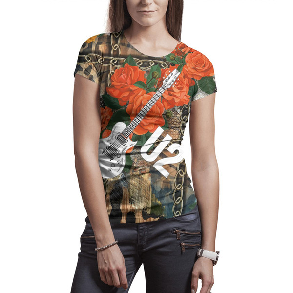 Woman Irish rock U2 Band Music Art t shirt Polyester white design vintage slim fit Tees