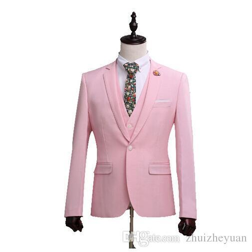 Moda Pembe Erkekler Düğün Smokin Adam Resmi Takım Elbise Slim Fit Damat Smokin 3 Parça Terno Masculino (Ceket + Pantolon + Yelek)
