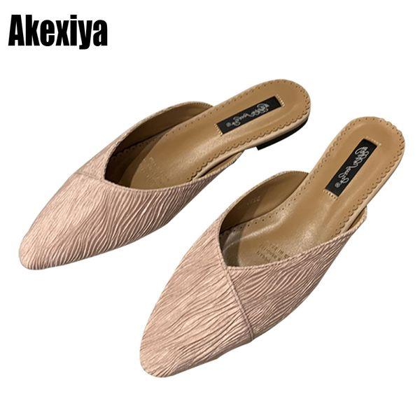 Women Slippers Flats Shoes Low Heels Spring Mules For Women Slides Flock Female square Toe Sweet Girls Slipper f159