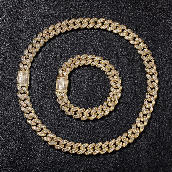 2019 Новый хип-хоп бриллиантовое колье Micro Square Кубический цирконий медный кулон, колье с бриллиантами, 18-каратное золотое покрытие, замороженные цепочки