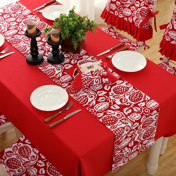 Christmas Table Runner.Christmas Table Runner Mat Tablecloth Christmas Flag Home Party Decor Red Floral Printed Table Runners Home Decoration Wed Party Party Table Runners