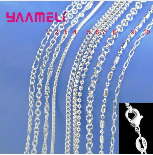 Big Promotion 100% Authentic 925 Sterling Silver Chain Necklace with Lobster Clasps fit Men Women Pendant 10 Designs 16-30 Inch