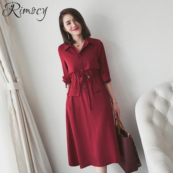 Rimocy 2019 spring windbreaker women fashion turn down collar long trench adjustable waist solid red dress woman long style coat