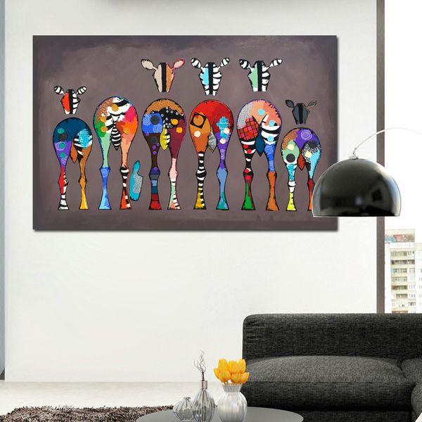 1 Pz Poster Da Parete Dipinti Su Tela Per Soggiorno Astratto Colorato Animale Arte Sei Zebre Immagini Wall Art Prints No Frame