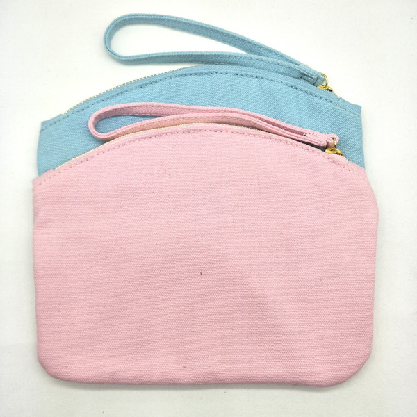 1pc 6.5x8.3in 12oz thick cotton canvas baby blue/pink single strap clutch bag for Weddings&Party&Dancing Party blank perfect for DIY print