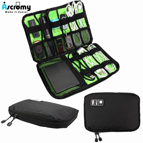 Ascromy Cable Organizer Electronics Accessories Travel Bag for Hard Drive USB Keys Mobile Phone Charger Charging Cable PowerBank