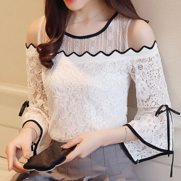 best selling new Women's Fashion Lace Chiffon Stitching Blouse Flare Sleeve Top Lace O-neck Blouse Strapless Sexy Women Clothing D597 30