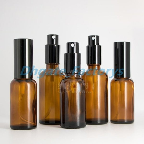 30ML / 50ML Botellas de ámbar con tapa negra Botellas de aerosol de vidrio para aceites esenciales Muestra de atomizador Bomba atomizador Bomba de perfume