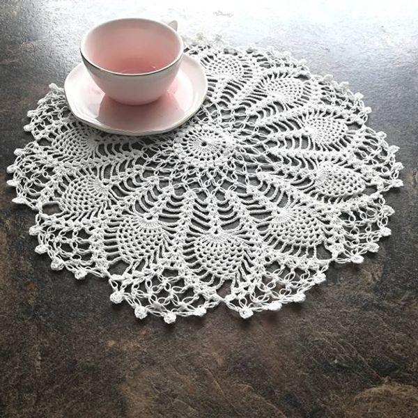 Handmade Crochet Placemats cup mat, White Ecru Doily ,cup pad,coaster ,crochet DoilIes Diameter - 12 inches (31 cm.) 2Pcs/Lot