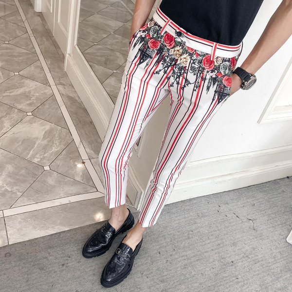 Flower Printed Trousers Mens Fashion Pantalon Homme Slim Fit Evening Dress 2019 Pants Night Club Dress Striped Pants Casual