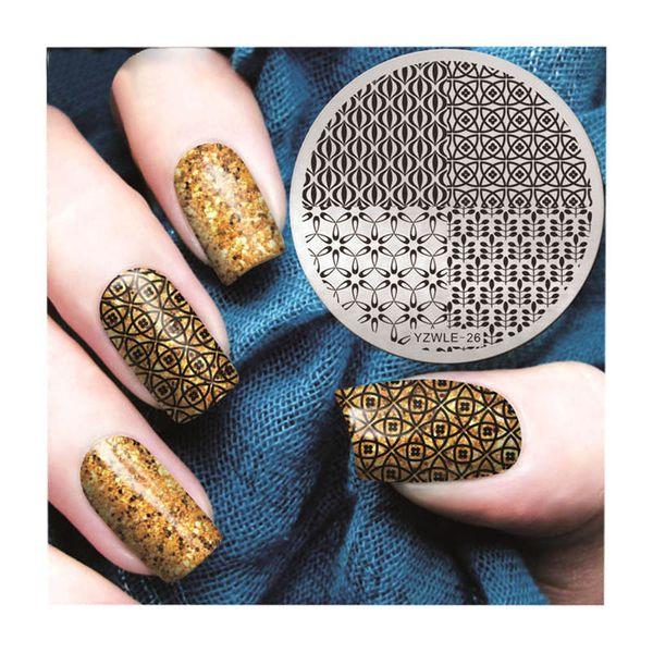 KÜNSTLICHE NÄGEL Nail Art Druckplatte Image Stamping Plattenmit Kleber falsche Nägel Maniküre Template Tool DIY Display Mode