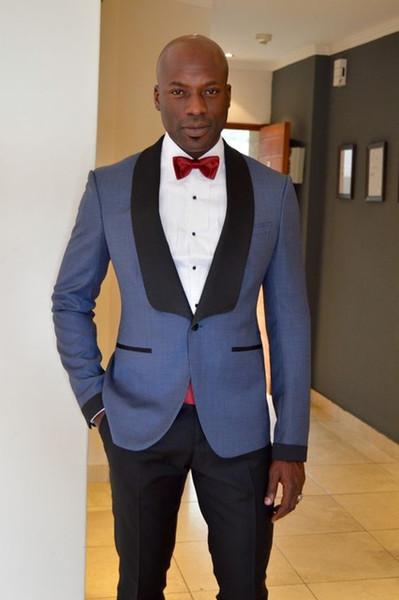 Black Satin Shawl Lapel Grey Men Suit Formal Groom Wedding Party Prom Suits Custom Men Tuxedos 2 Pieces Vestidos (Jacket+Pants)