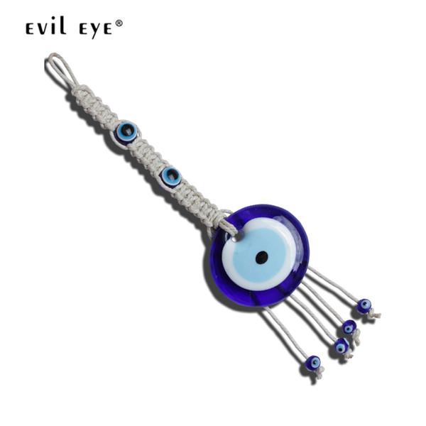Kadınlar Erkekler LE297 için Araba Anahtarlık Örgülü Halat Anahtarlık Moda Takı Asma NAZAR Mavi Türk Göz kolye Anahtarlık Duvar