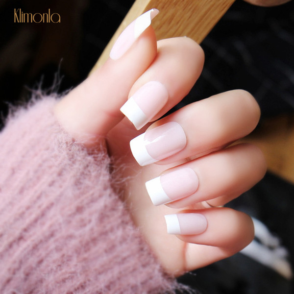 24pcs/set Natural False Nails With French Designs Pre-glue Press On Fake Nail Art Tips Full Cover Fingernails DIY Manicure Salon