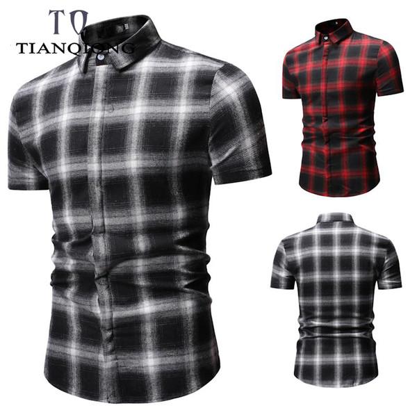 Summer Pinted New Mens Fashion Casual Shirts Short Sleeve Dress Shirt Geometri Social Mens Slim Fit Plaid Shirt Plus Size 3XL