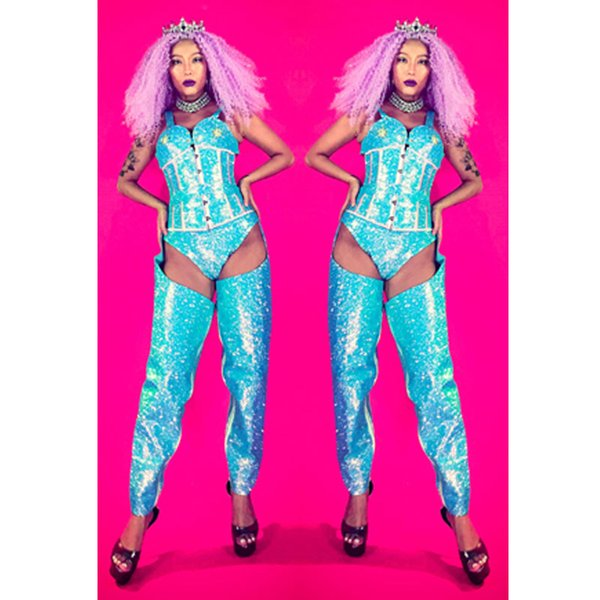 2019 sexy lady sängerin kostüm Blau glänzend dance wear bar dj kleidung bühne kostüm sets frauen tänzer sänger bühnenshow