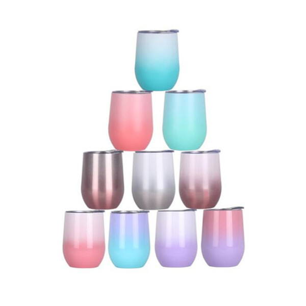 12oz Stainless Steel Tumbler Gradient Wine Glasses Egg Cup Water Bottle Double Layer Vacuum Insulated Beer Mugs for Travel Outdoor Sports