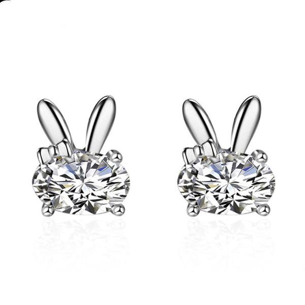 Cute Rabbit Stud Earrings For Women Ear Jewelry Lovely Animal Bunny Stud Earring Birthday Gift Wholesale Color Silver Earrings