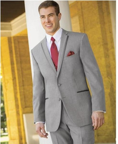 Classic Designe Light Grey Groom Tuxedos Notch Lapel Two Button Groomsmen Mens Wedding Tuxedos Excellent Man Suit(Jacket+Pants+Vest+Tie) 752