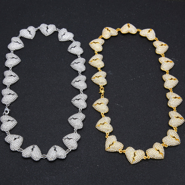 Catene da uomo a catena con maglie a catena Cuore spezzato con diamanti Collana Hip Hop Punk Ghiacciato Collane Uomo Donna Hiphop Accessori moda gioielli