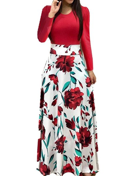 Club Party Dress Femmes Manches Longues Floral Print Boho Maxi Dress Dames Casual Robes Femme Party Night Vestidos Verano 2019